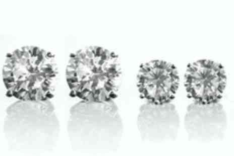 Jewellery Hall - Sterling Silver Cubic Zirconia Earrings Two Carat Look - Save 71%