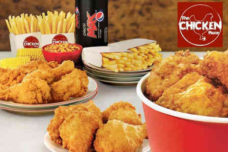 The Chicken Place - 10 piece fried chicken family feast with four fries, four corn on the cobs, your choice of beans or coleslaw and a 1.5L soft drink - Save 50%