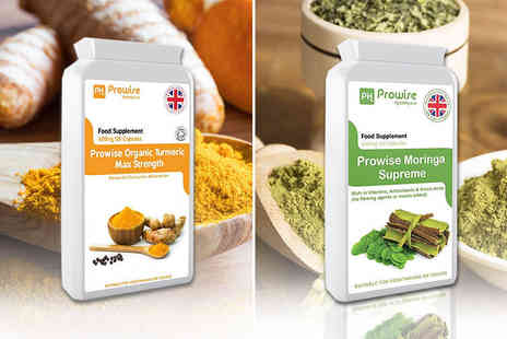 Prowise Healthcare - Four month supply of Turmeric and two month supply of Moringa supplements 120 capsules - Save 77%
