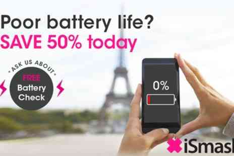 iSmash - iPhone Battery Replacement for a Choice of Model or Phone Wipes - Save 50%