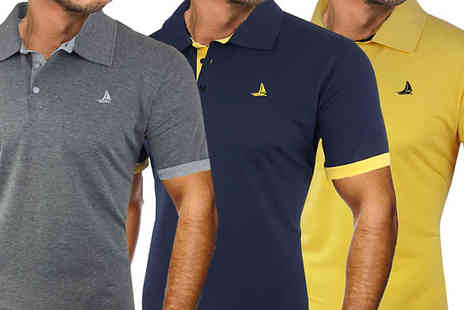 Blu Apparel - 2 Pack of Mens SS Finley Polo Shirts Choose from 5 Sizes & 4 Colours - Save 20%