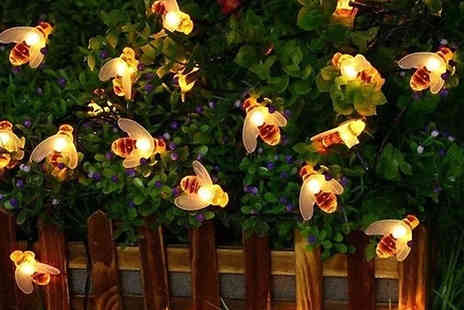 EClife Style - 20 LED Solar Powered Bee Fairy Lights - Save 67%