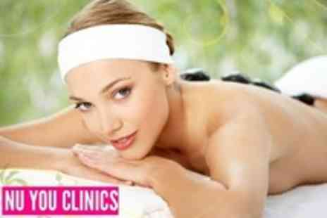 Nu You Clinics - Prescriptive Facial, Hot Stone Back, Neck and Shoulder Massage and Mini Manicure or Pedicure - Save 63%