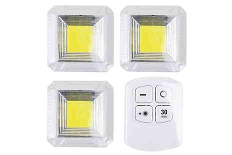 Wish Whoosh Offers - 3 x Remote Control LED Cupboard Lights Choose from 4 Designs - Save 40%