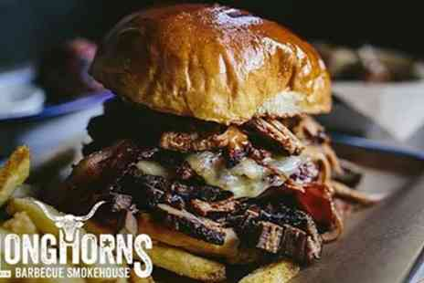 Longhorns Barbeque Smokehouse - Burger with Two Sides and Optional Drink for Two or Four - Save 42%