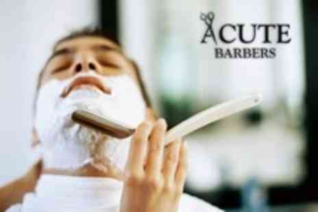 Acute Barbers - Mens Grooming Hot Towel Shave and Haircut - Save 69%