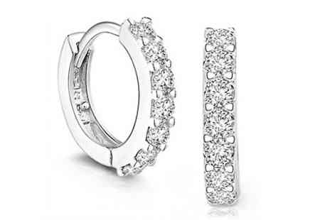 Elle and Be - White Gold Plated Simulated Crystal Copper Hoop Earrings - Save 83%