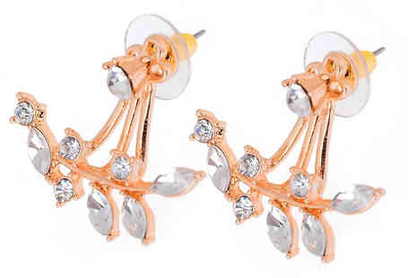 Elle and Be - Double Drop Crystal Leaf Earrings Choose from Rose Gold, Silver or Gold - Save 83%