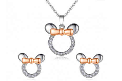 Elle and Be - Bow Mouse Ears Earrings and Necklace Simulated Crystal Set - Save 52%