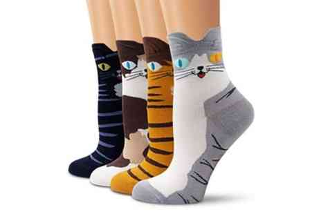 Groupon Goods Global GmbH - Four or Eight Pairs of Cotton Cat Socks - Save 67%