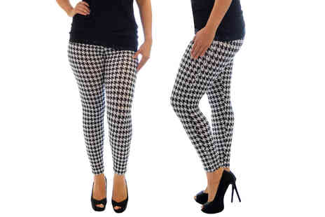 Nouvelle UK - Pair of dogtooth print leggings choose from five sizes - Save 0%