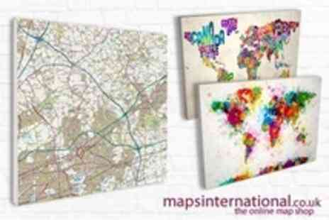 Maps International - Choice of Art Maps or Postcode Maps on Medium Canvas - Save 79%