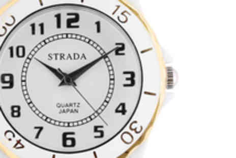 The Jewellery Channel - Strada (Austrian made) Crystal Watch in Black or White - Save 62%