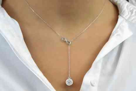 Groupon Goods Global GmbH - One, Two or Three Philip Jones Infinity Lariat Necklaces with Crystals from Swarovski - Save 68%