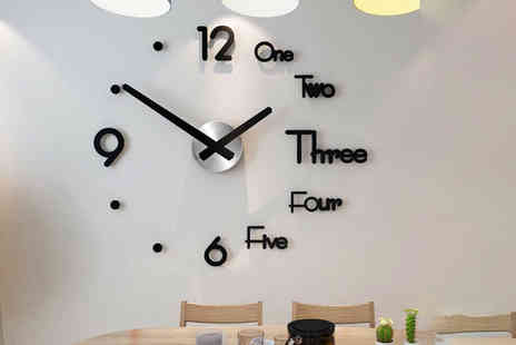 Domo Secret - 3D DIY number wall clock choose from three colours - Save 73%