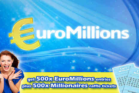 You Play We Play - 500 EuroMillions Lines and 500 Millionaires Raffle Tickets - Save 74%