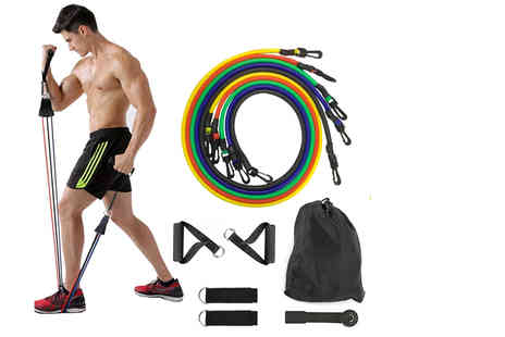 Wishwhooshoffers - 11 piece exercise resistance bands set - Save 75%