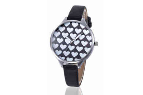Elle and Be - Faux Leather Heart Watch Choose from 2 Colours - Save 83%