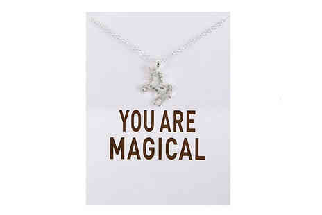 Elle and Be - You Are Magical Unicorn Necklace Gift Card Gold or Silver - Save 83%