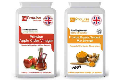 Prowise Healthcare  - 4 or 8 Month Supply of Turmeric & Apple Cider Vinegar Capsules - Save 77%