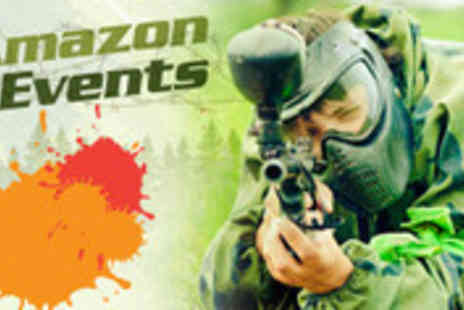 Amazon Outdoor Events - Half day of paintballing with 100 paintballs, FREE kit hire and lunch - Save 88%