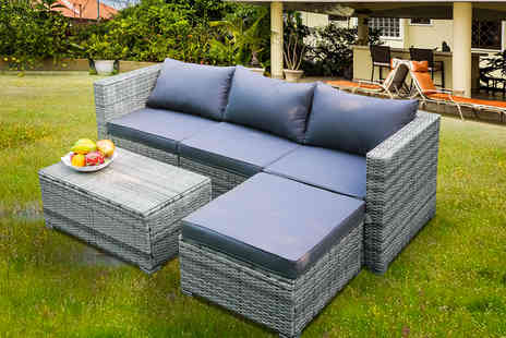 Direct Sourcing Project - Five piece polyrattan corner furniture set choose from three colours - Save 0%