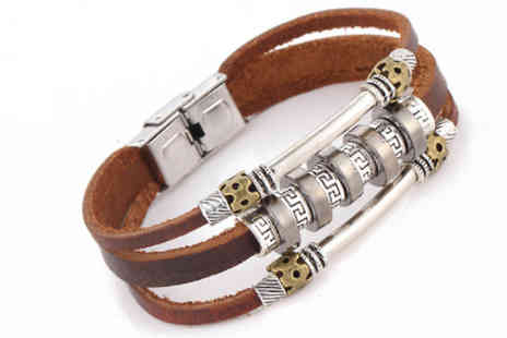 Elle and Be - Brown Faux Leather Bracelet - Save 72%