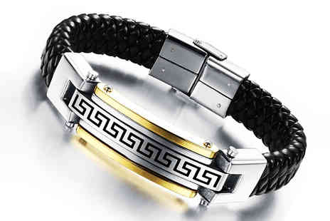 Elle and Be - Mens Aztec Stainless Steel Bracelet - Save 80%