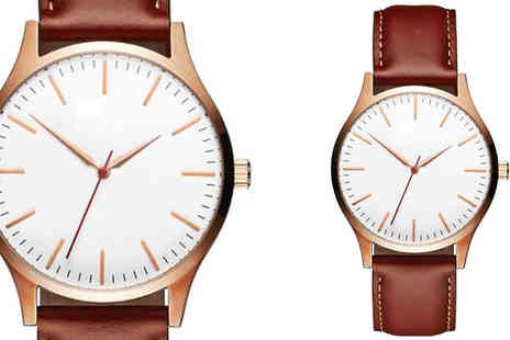 Elle and Be - Mens Faux Leather Watch Choose from 2 Colours - Save 70%