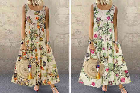 Domo Secret - Floral summer maxi dress choose from two colours - Save 60%