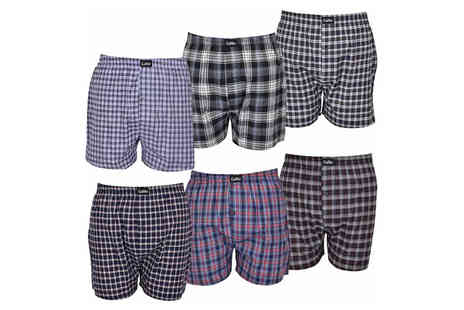 True Face - Pack of six Mens woven check boxers - Save 19%
