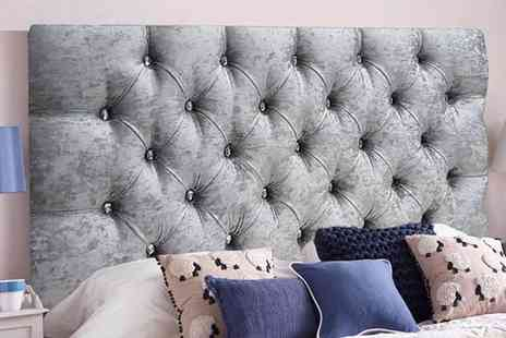 Serenity Designs - Crushed velvet diamante headboard choose from 6 sizes - Save 56%