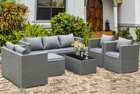 Direct Sourcing Project - Eight seater polyrattan garden furniture set choose from three colours - Save 40%