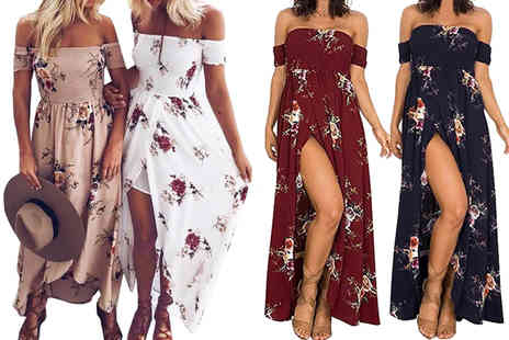 Bonicaro - Floral slide slit maxi dress choose from six colours - Save 86%