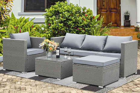 Direct Sourcing Project - Five seat garden rattan furniture set choose between black brown and grey - Save 0%
