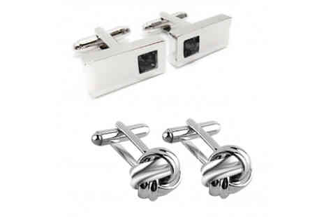 Elle and Be - Sterling Silver Plated Cufflink Set 2 Pairs - Save 73%