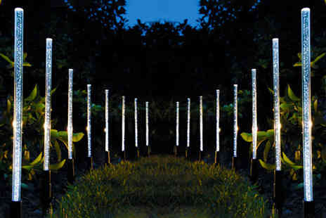 MBLogic - Set of eight solar light Led bubble tube garden lamps choose from two colours - Save 70%