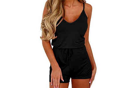 WhoGotThePlan - Sleeveless Tie Waist Casual Playsuit Choose from 4 Colours and 3 Sizes - Save 50%