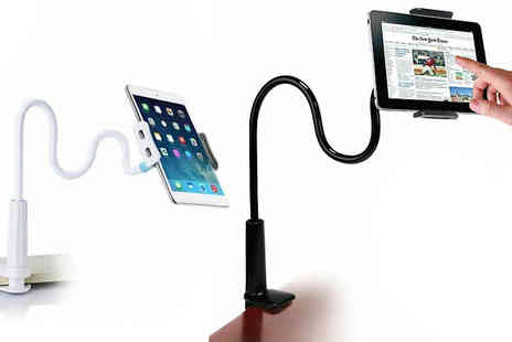 Secret Plums - 2 in 1 Clip On Flexible Phone & Tablet Stand Choose from Black or White - Save 57%