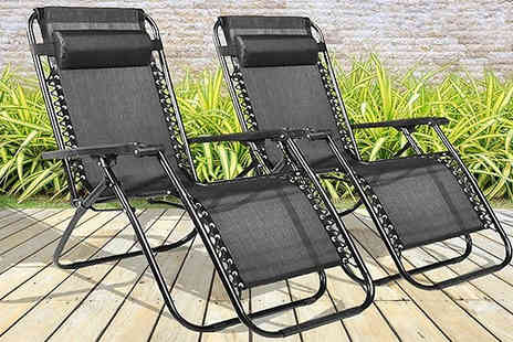 Direct 2 public - Pair of Zero Gravity Reclining Sun Loungers - Save 47%