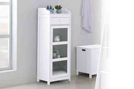 Limitless Home - Tall glass white storage cabinet - Save 55%
