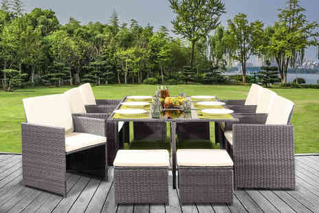 UKFurniture4u - 13 piece cube rattan dining set or rain cover - Save 59%