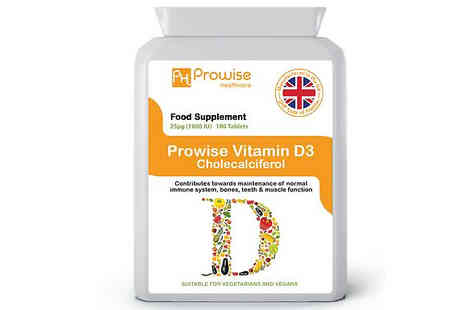 Prowise Healthcare - 6 Month Supply of Prowise Vitamin D3 1000iu 180 Tablets - Save 63%