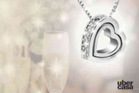 Uber Casa - Encrusted Heart 2 Heart Duo Necklace & Earring Set made with Swarovski Elements - Save 87%