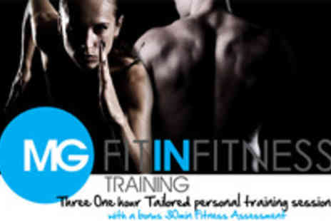 MG Fit In Fitness - Boost your body with three one hour personal training sessions and online support - Save 59%