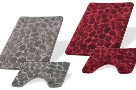 Groupon Goods Global GmbH - Two Piece Pebbles Bath Mat Set - Save 73%