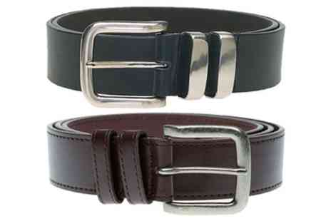 Groupon Goods Global GmbH - Mens Bonded Leather Duke Belt with Elegant Buckle - Save 0%