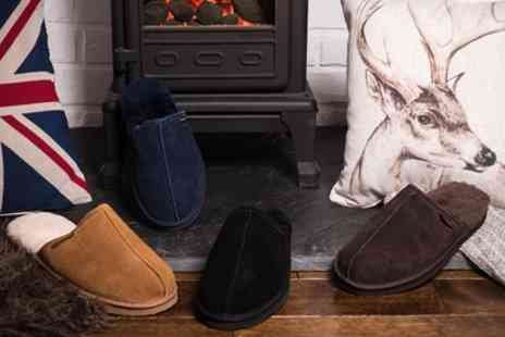 Groupon Goods Global GmbH - Redfoot Mens Suede and Australian Sheepskin Slippers - Save 0%