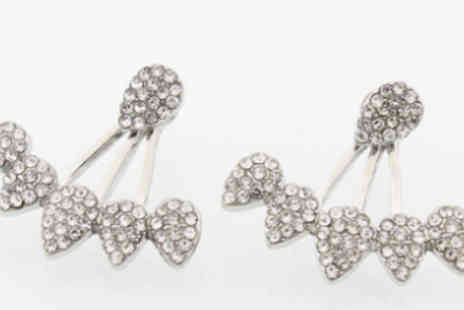 Elle and Be - Crystal Flower Double Drop Earrings - Save 83%