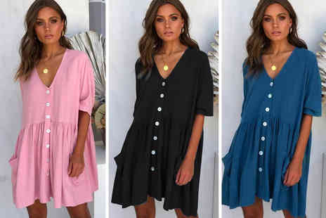 Flashing Pineapple - Womens button down summer dress with pockets - Save 70%